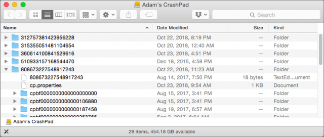 Folder showing CrashPlan backups