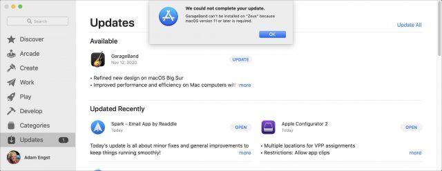 GarageBand update error in App Store