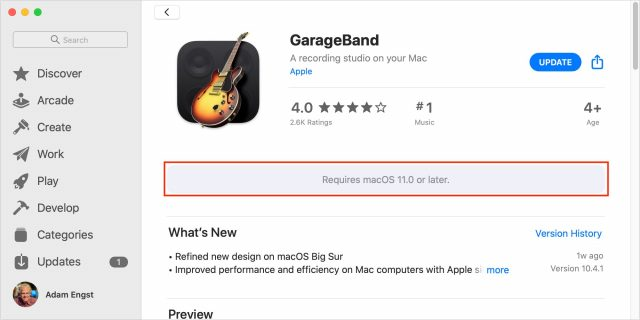 GarageBand system requirements note in App Store listing