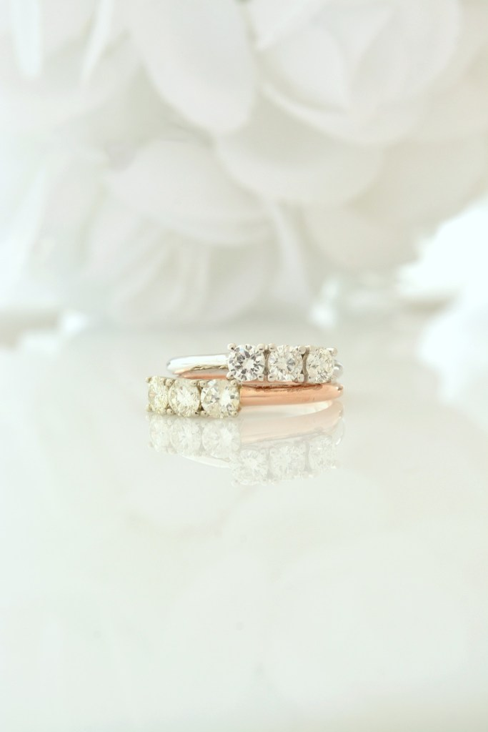 photo of gold rings with diamonds
