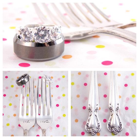 Hand-stamped antique wedding forks by Block & Hammer