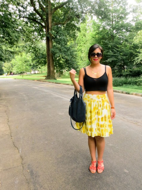 outfit post: asos crop top, the limited skirt, neva opet purse | tide & bloom