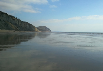 Charmouth beach looking east towards Golden Cap