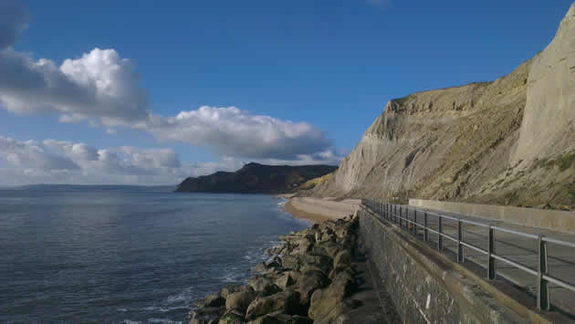 West Bay looking west towards Eype