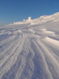 Runway snow drifts