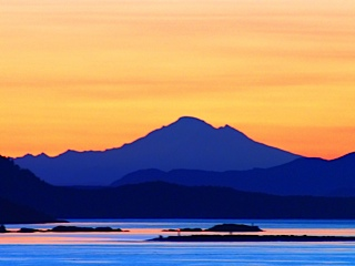 Looking across the Salish Sea to Mt. Baker