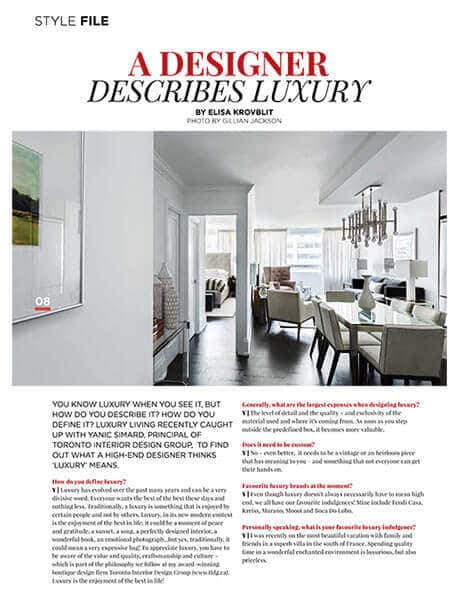 Stylefile Article - Yanic Simard - designer describes luxury, October 2015