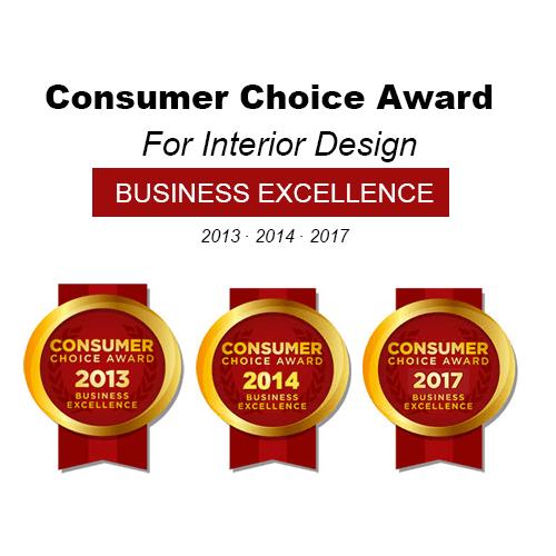 Consumer Choice Award For Interior Design Business Excellence 2013, 2014, 2017