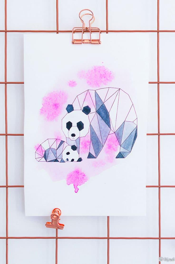 Illustration origami et aquarelle - Pandas - Maman et bébé panda - tiDudi