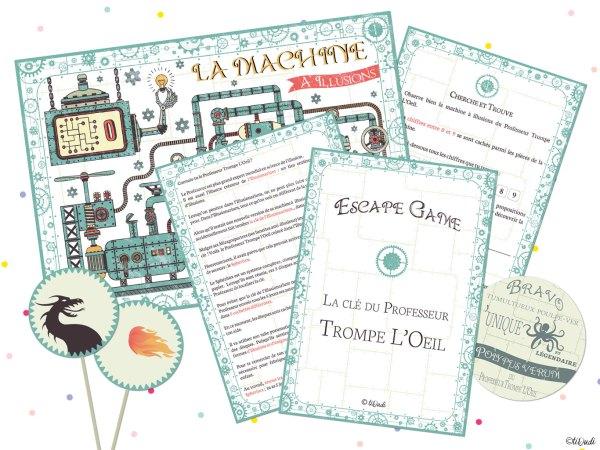 """Escape game des vacances, pour les enfants, sur le thème des illusions d'optique. """"La clé du Professeur Trompe L'Oeil"""" par tiDudi"""