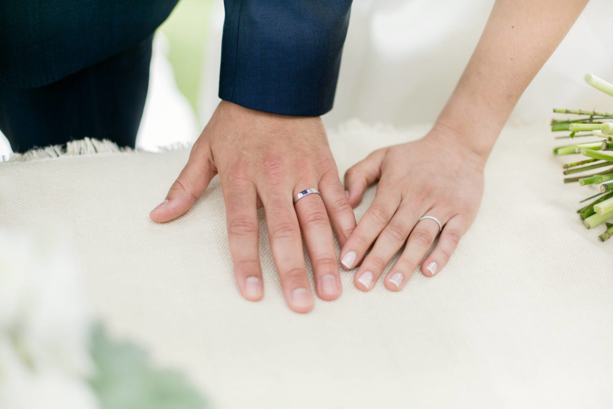 Wedding bands on groom and bride's hand