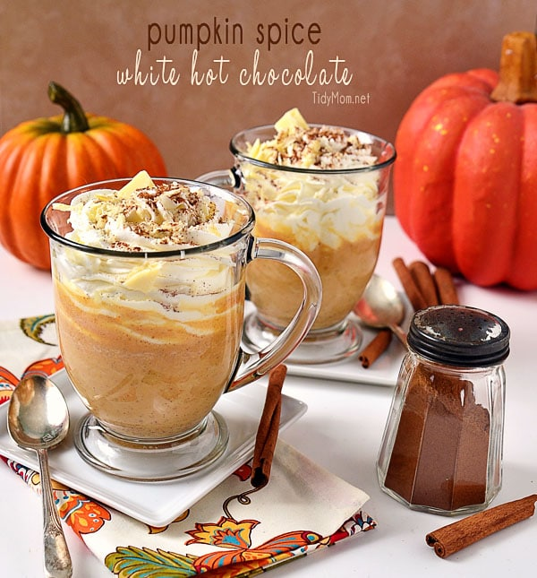 Fall Drinks you can make at home!! - Pumpkin Spice White Hot Chocolate at TidyMom.net
