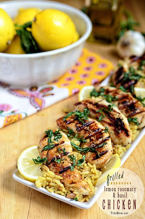 Grilled Lemon Basil Chicken at TidyMom.net