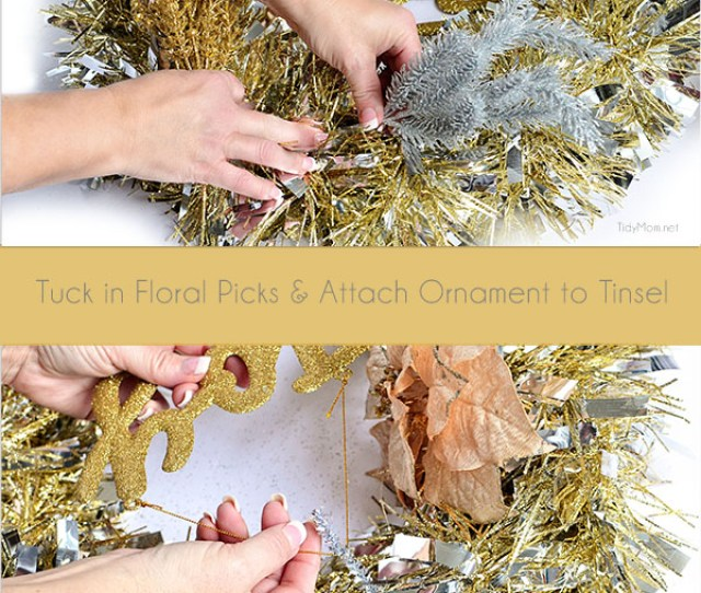 Diy Christmas Decor Make This Easy Tinsel Wreath In Under  Minutes And No Glue