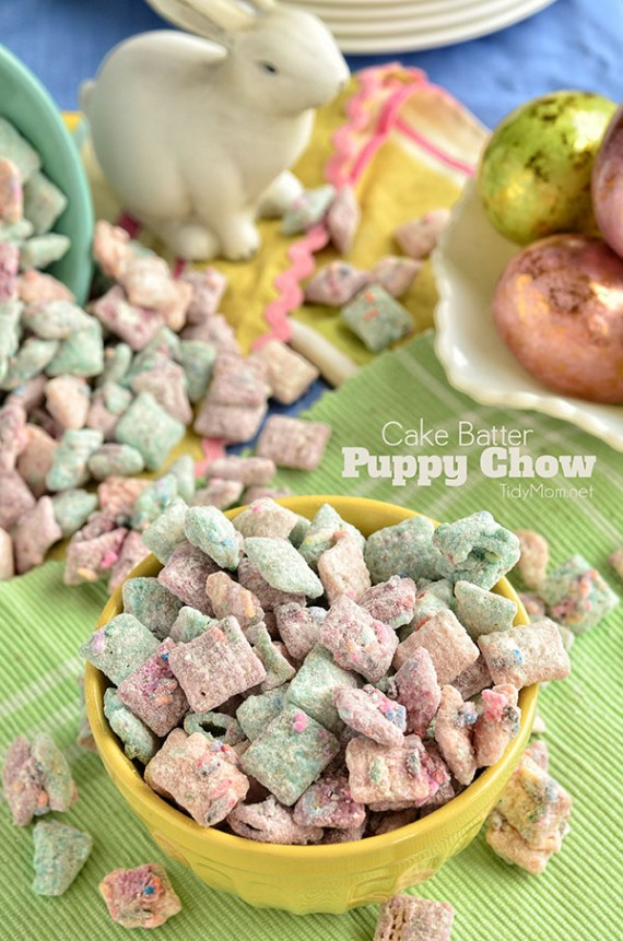 "Cake Batter Puppy Chow"" snack mix recipe at TidyMom.net #yearofcelebrations"