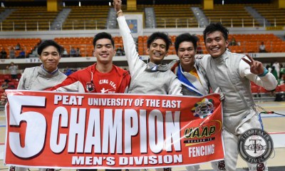 Tiebreaker Times Give Me Five: Red Warriors roll to fifth straight fencing crown ADMU DLSU Fencing News UAAP UE UP UST  UST Men's Fencing UP Men's Fencing UE Men's Fencing UAAP Season 79 Men's Fencing UAAP Season 79 Samuel Tranquilan Rv Libarios Nathaniel Perez Jancen Concepcion Gerry Hernandez DLSU Men's Fencing CJ Concepcion Ateneo Men's Fencing Adamson Men's Fencing