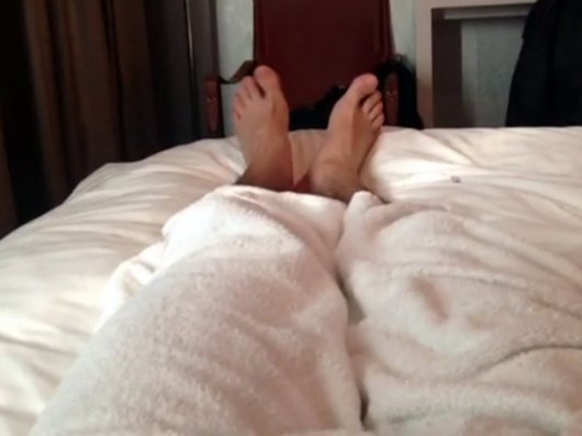 Tyler Posey wiggling his feet