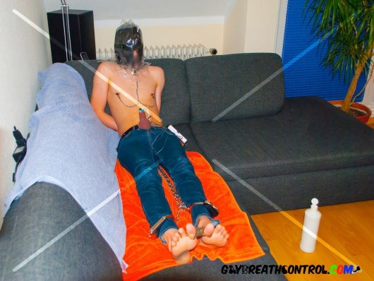 EmoBCSMSlave Barefooted Breath Control w/ a Bag and tied w/ Toe Cuffs, Leg Irons and Handcuffs