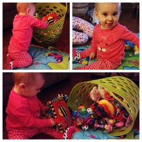 She had a pajama party with her BFF. She came home knowing how to pull all of her toys from her bin. She was taught well ;)