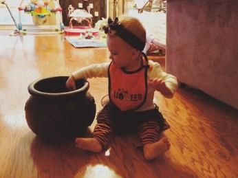 Stirring her brew!