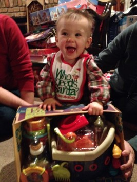 Opening gifts at Grammy and Poppa's house.