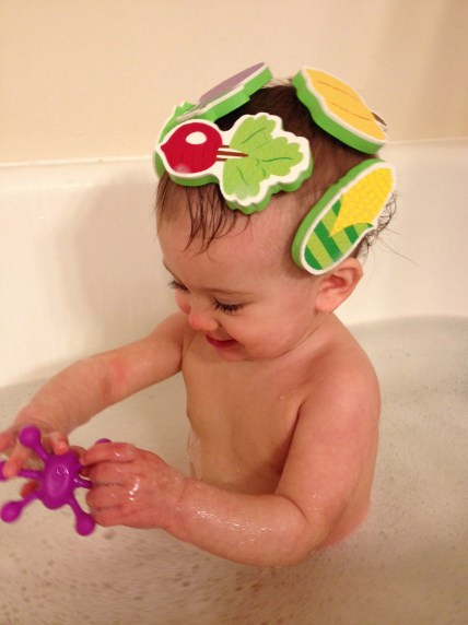 Veggie soup on her head!