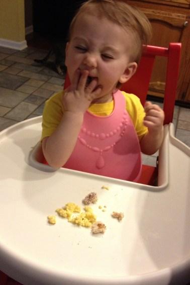 First time eating scrambled eggs. Dinner for breakfast!
