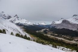 Aussicht auf den Icefields Parkway vom Parker Ridge Trail