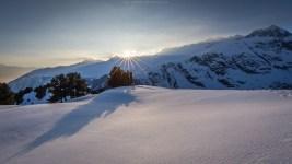 Sonne pur in der winterlichen Aletschregion