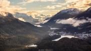 Blick auf St. Moritz und die Engadiner Seenlandschaft