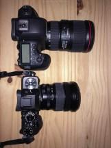 Grössenvergleich: Canon 6D II mit EF16-35mm f/4.0 versus Fujifilm X-T2 mit Fujinon 10-24mm f/4.0