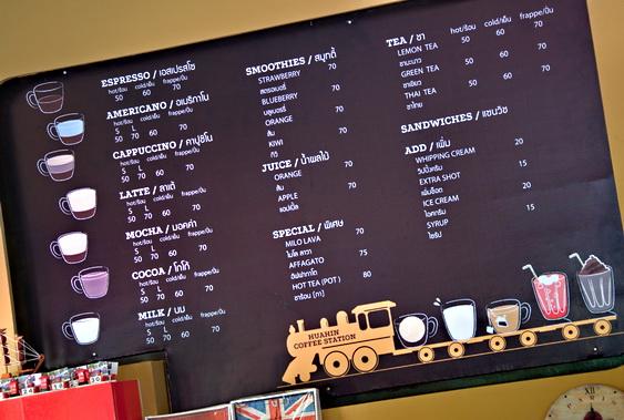 Hua Hin Coffee Station Menu
