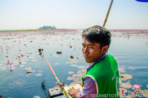 Boat Driver at Lake in Udon Thani