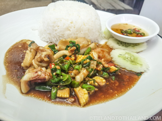 Delicious Pad Gra Prao (Stirfry Seafood with Basil)