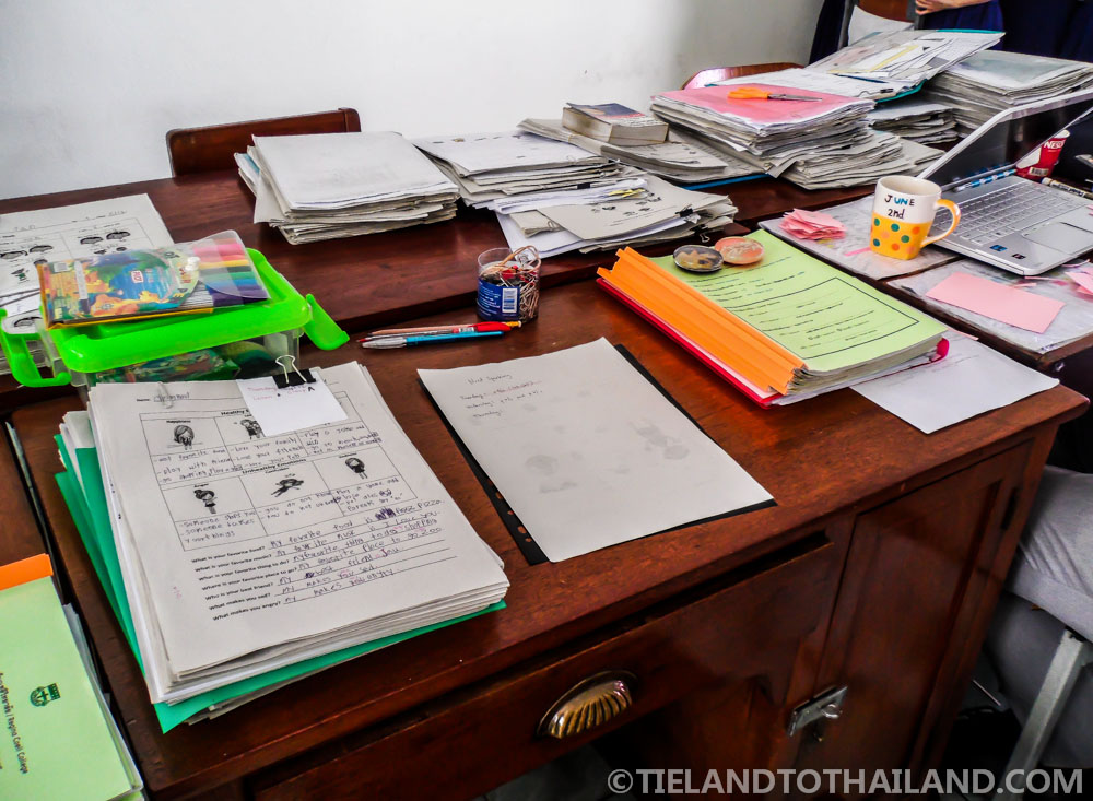 The status of my desk during a typical day teaching in Thailand