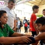 Zabaleta recorrió el operativo de revisación médica que incluye a los 3500 chicos de la Liga Infantil de Fútbol de Hurlingham