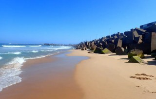 Bloques cemento playa de Wollongong, NSW, Viajar a Australia