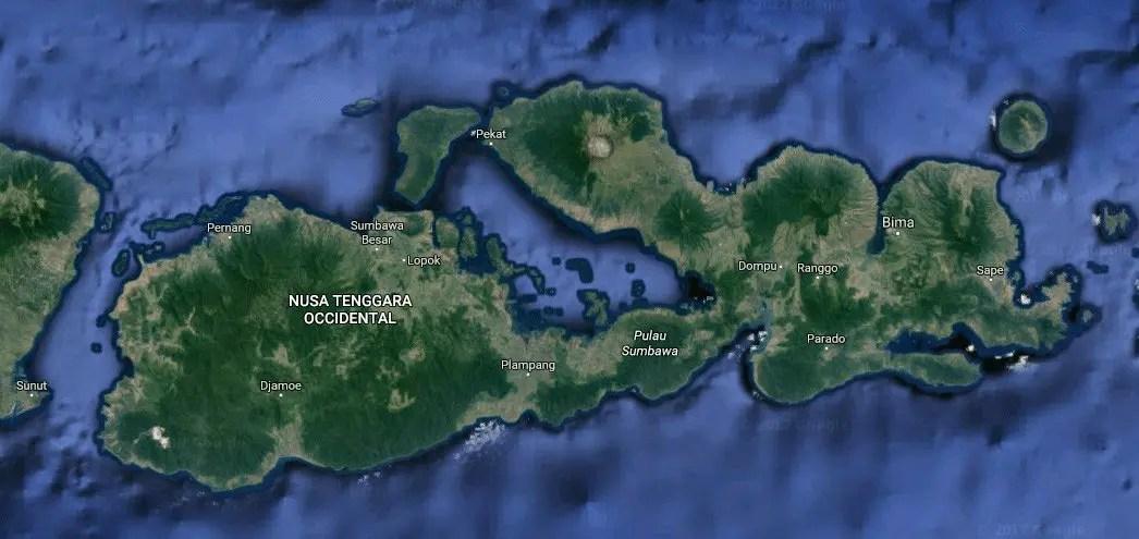 Mapa de Sumbawa, Indonesia, Sudeste Asiático @tiempodexplorar 2016