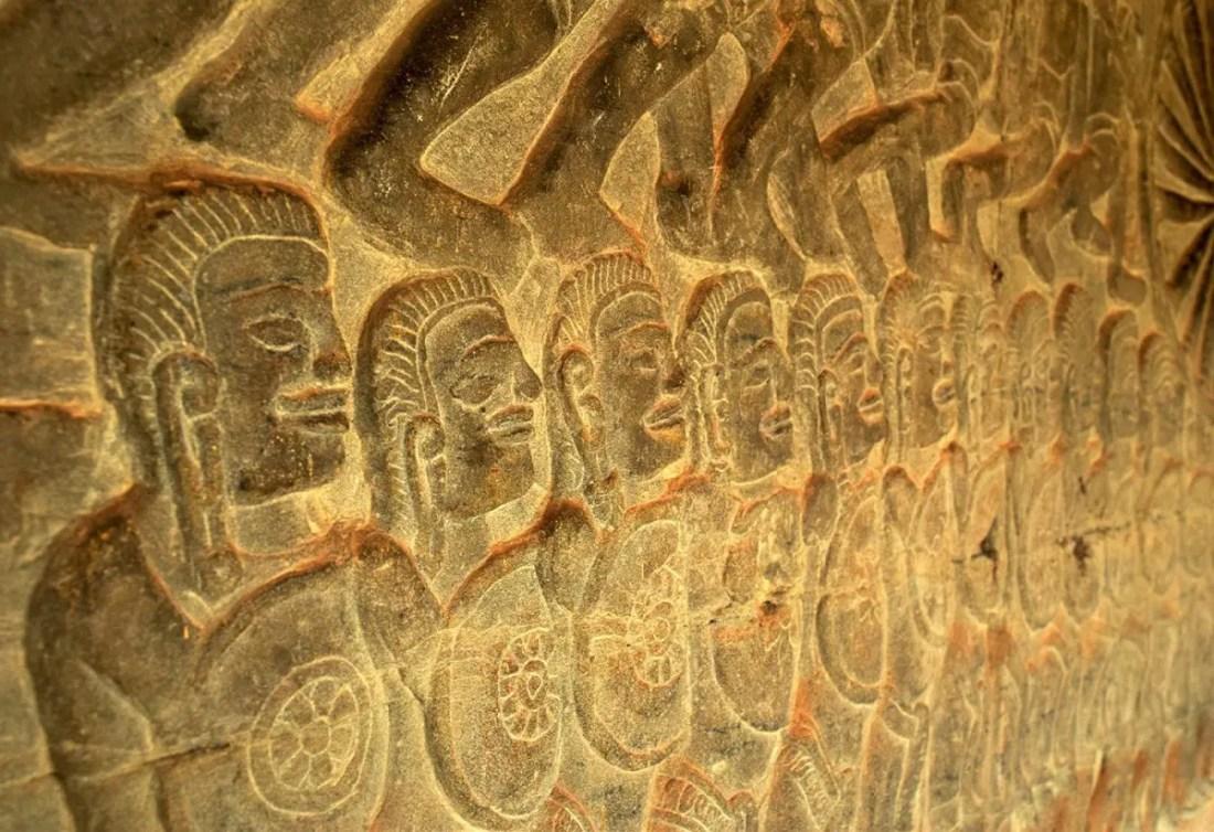 Detalle muro templos de Angkor Wat Camboya