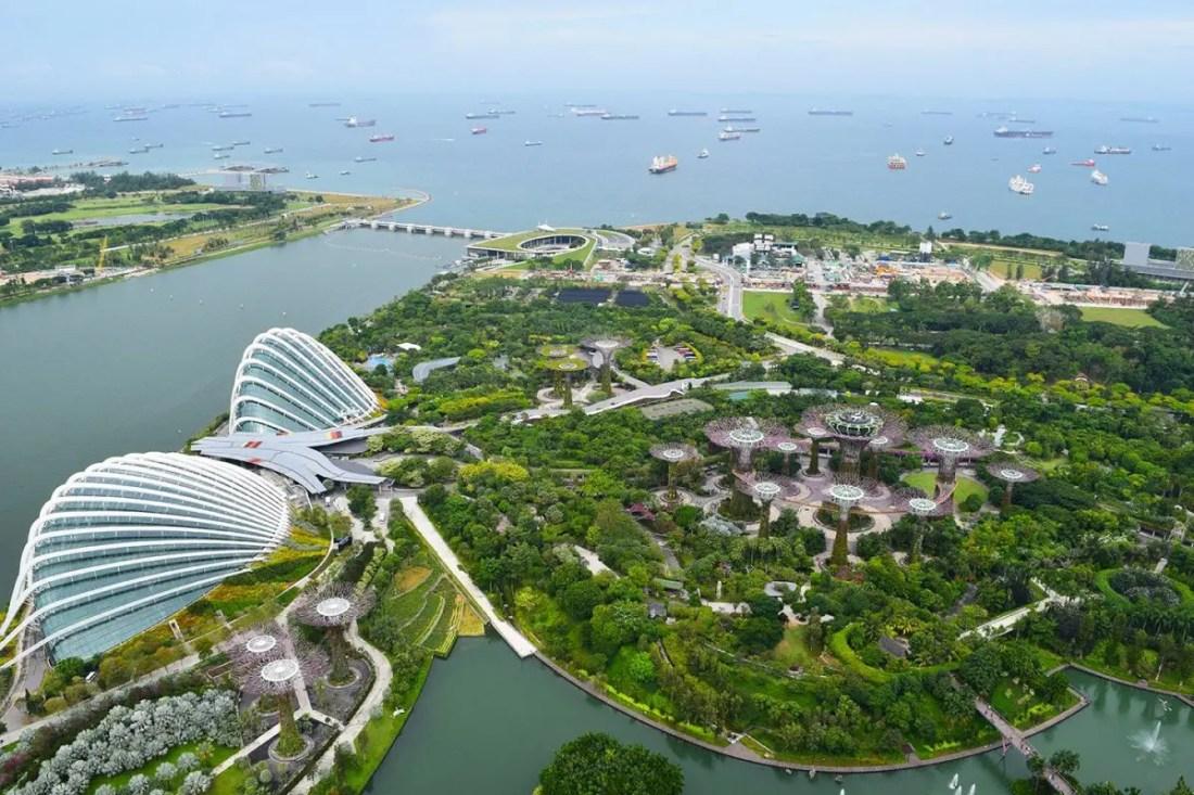 vista de singapur desde Marina Bay Sands