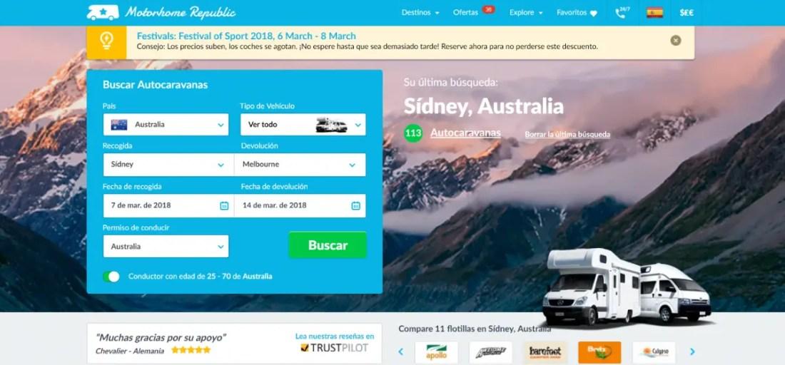 alquilar caravana en Australia