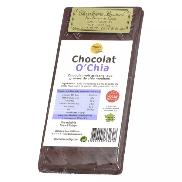 chocolate negro con chía