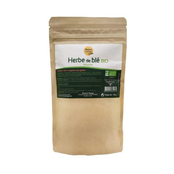 herbe de blé bio en poudre