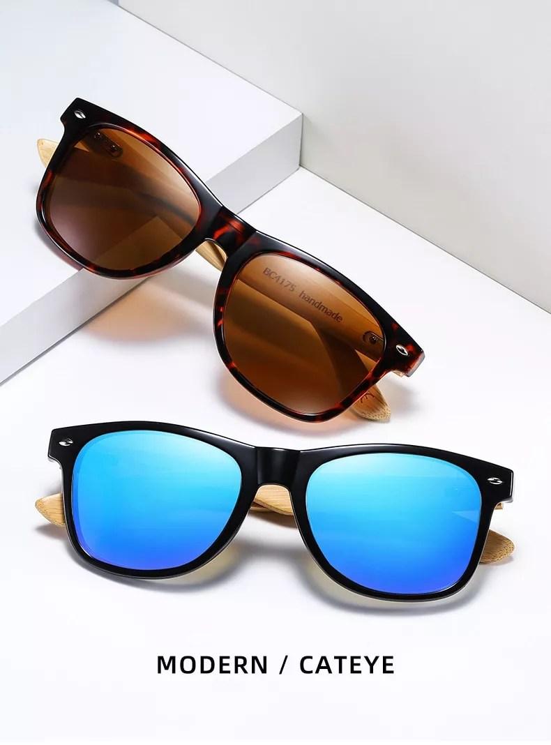 BARCUR Polarized Bamboo Sunglasses Men Wooden Sun Glasses Women Brand Original Wood Glasses Oculos De Sol Masculino
