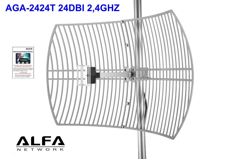 Kit Dish Antenna Wifi Alfa 24dbi Wifi Usb Rt 3m