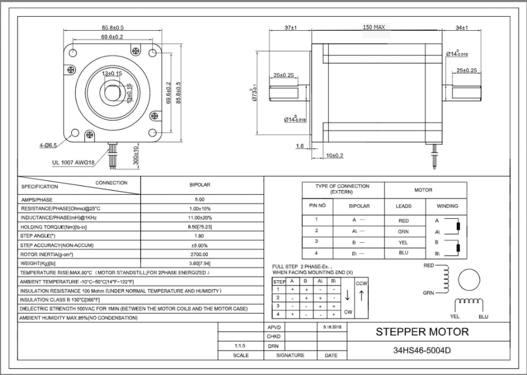 Motor Paso A Paso Stepper Nema 34 Hs46 D 8 5nm Doble
