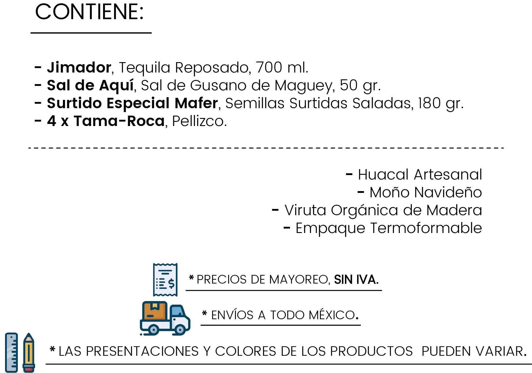 Contenido Huacal Tequilero by Tienda de Canastas
