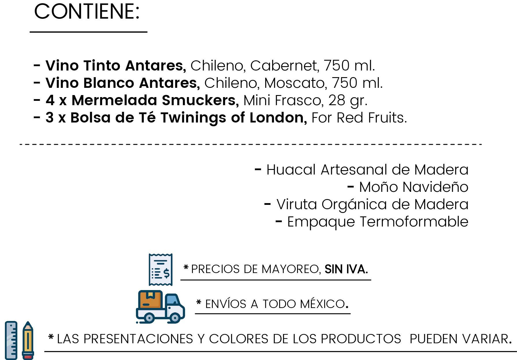 Contenido Huacal Tinto & Blanco by Tienda de Canastas