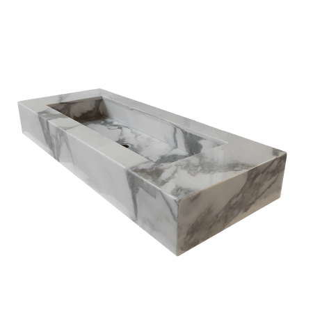 Lavabo de Mármol modelo AM145 en color blanco calacatta 1
