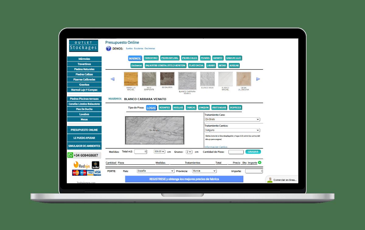 Presupuesto Online tienda del mármol